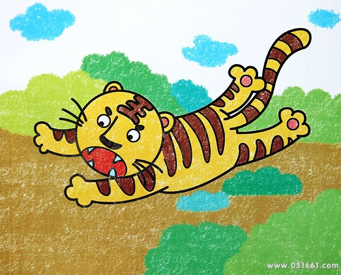 蜡笔画-可爱的小老虎