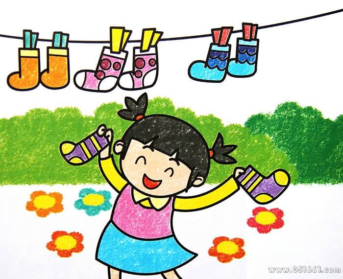 儿童画画 蜡笔画 晒袜子的小女孩儿童画画