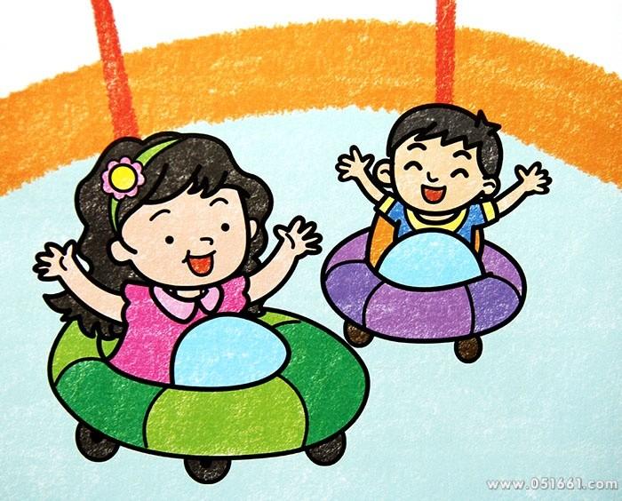 碰碰车简笔画_碰碰车图片欣赏_碰碰车儿童画画作品-有