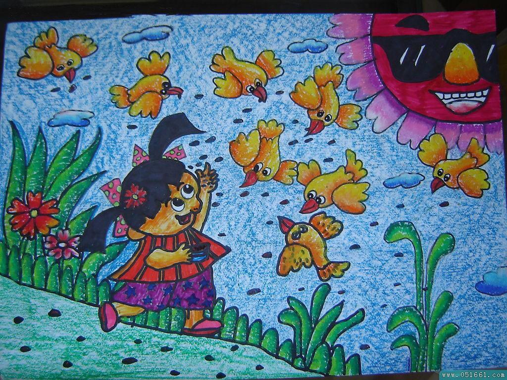 儿童画画 蜡笔画 喂鸟的小女孩儿童画画