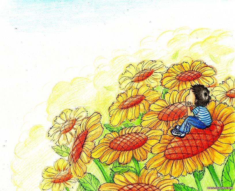 儿童画画 蜡笔画 阳光的向日葵儿童画画