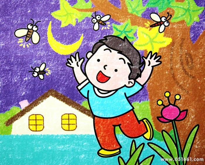 扑蜻蜓简笔画_扑蜻蜓图片欣赏_扑蜻蜓儿童画画作品-有