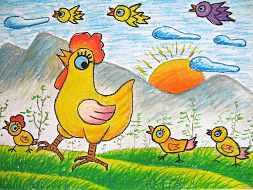 老母鸡保护小鸡简笔画