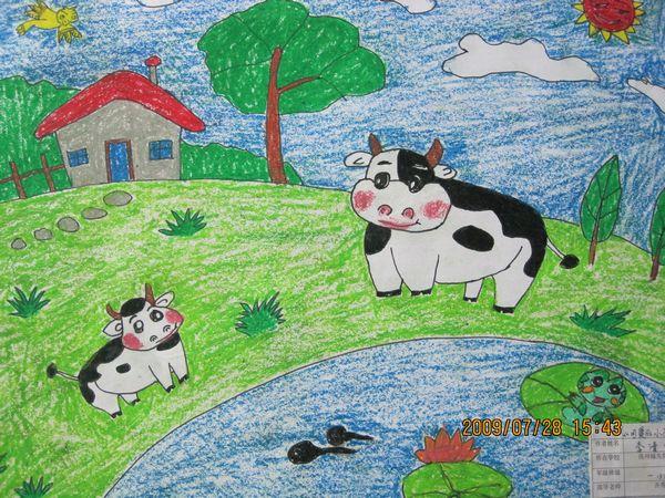 蜡笔画-可爱的奶牛