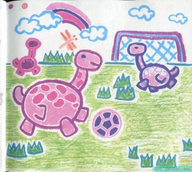 儿童画画 蜡笔画 小乌龟们踢足球儿童画画