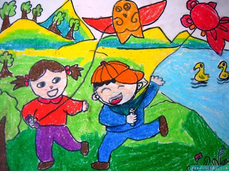 儿童 简笔画 作品 放风筝/放风筝简笔画_放风筝图片欣赏_放风筝儿童画...