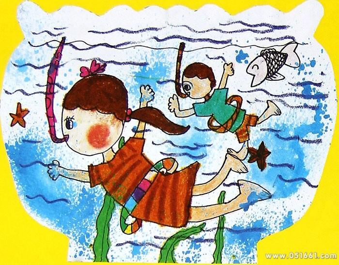 潜水运动简笔画 潜水运动图片欣赏 潜水运动儿童画画作品