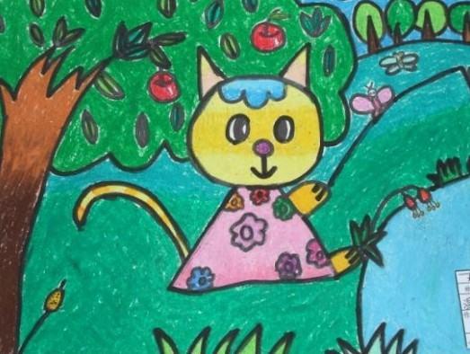 蜡笔画之小花猫的假日 -小花猫的假日简笔画 小花猫的假日图片欣赏