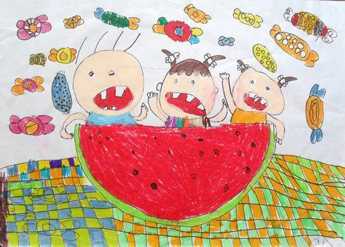 西瓜小屋简笔画 西瓜小屋图片欣赏 西瓜小屋儿童画画作品