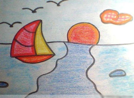 儿童画画 蜡笔画 海边日出美景儿童画画