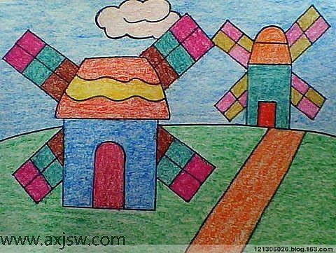 儿童画画 蜡笔画 风车的故事儿童画画