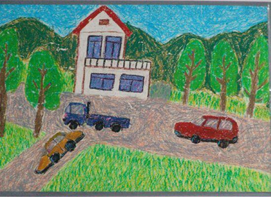 今天开车去外婆家简笔画 今天开车去外婆家图片欣赏 今天开车去外婆家儿童画画作品