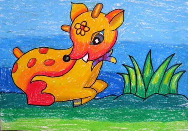 漂亮的梅花鹿简笔画 漂亮的梅花鹿图片欣赏 漂亮的梅花鹿儿童画画作