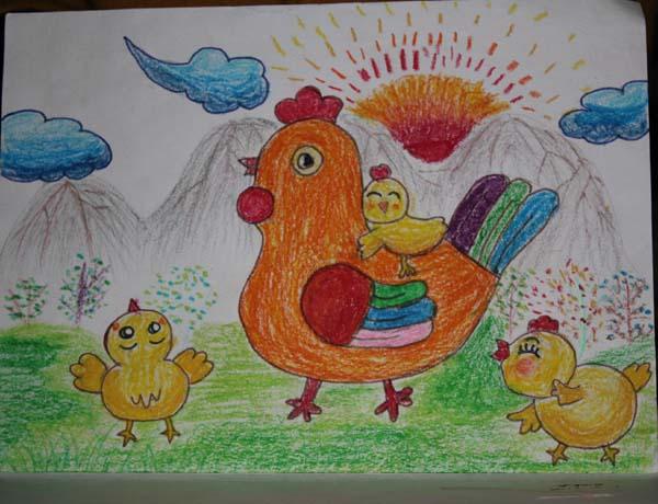 晒太阳的鸡群简笔画_晒太阳的鸡群图片欣赏