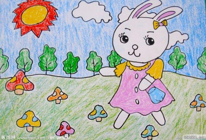 蜡笔画-小白兔采蘑菇