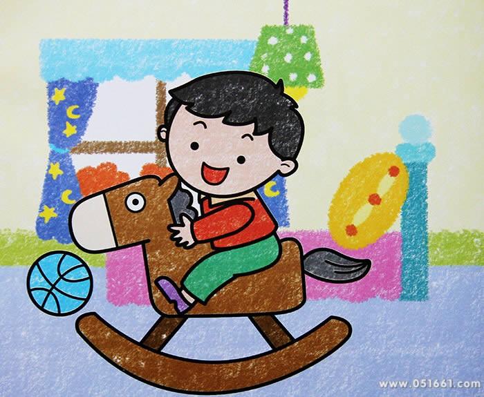 小孩骑木马简笔画_小孩骑木马图片欣赏