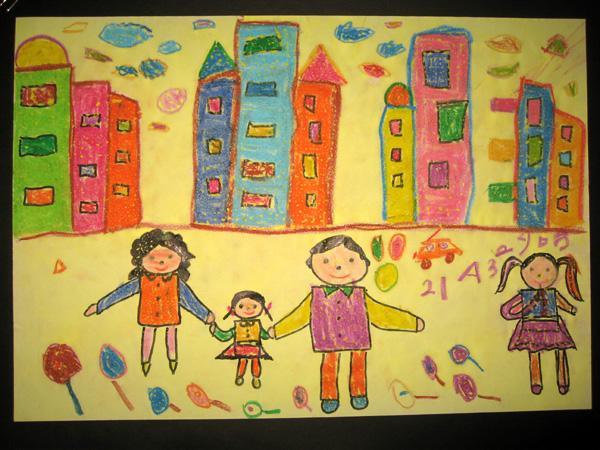 幸福一家人简笔画 幸福一家人图片欣赏 幸福一家人儿童画画作品