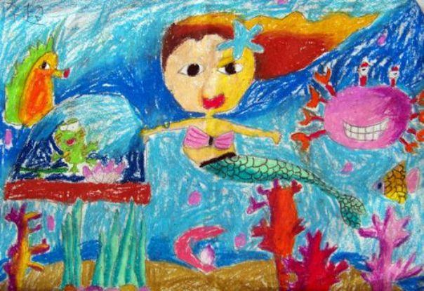 人鱼公主简笔画 人鱼公主图片欣赏 人鱼公主儿童画画作品