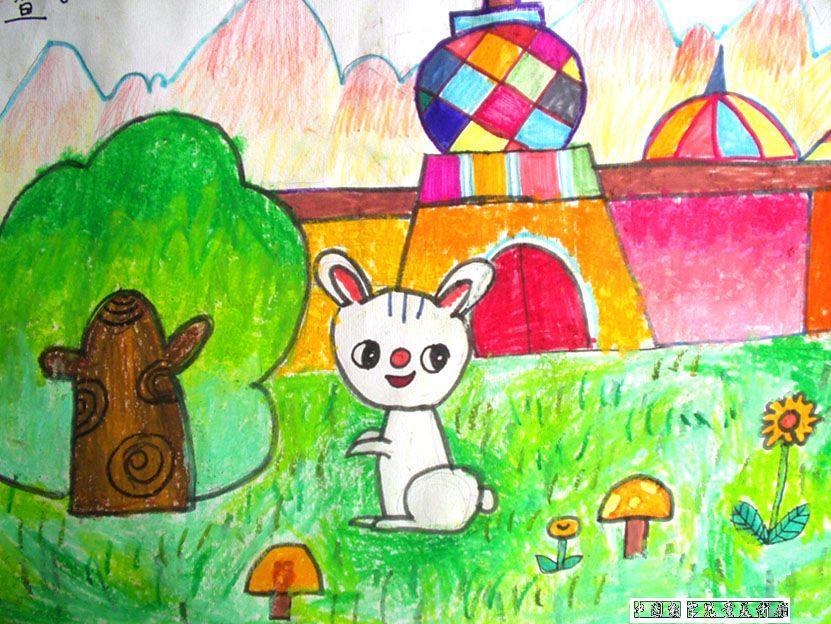 少儿绘画图片:机灵的小白兔