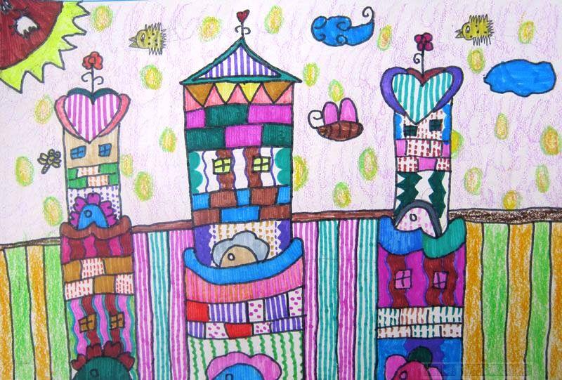 公主的城堡简笔画 公主的城堡图片欣赏 公主的城堡儿童画画作品