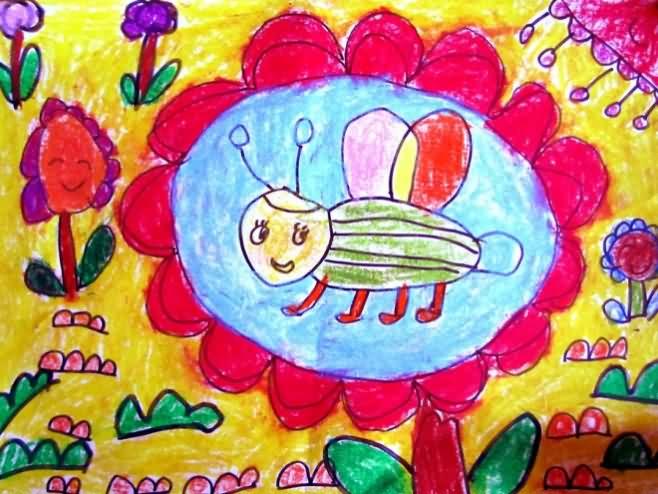 辛勤采蜜的小蜜蜂简笔画 辛勤采蜜的小蜜蜂图片欣赏 辛勤采蜜的小蜜蜂儿童画画作品