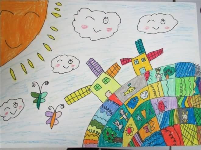 我爱的美丽地球简笔画 我爱的美丽地球图片欣赏 我爱的美丽地球儿童画画作品