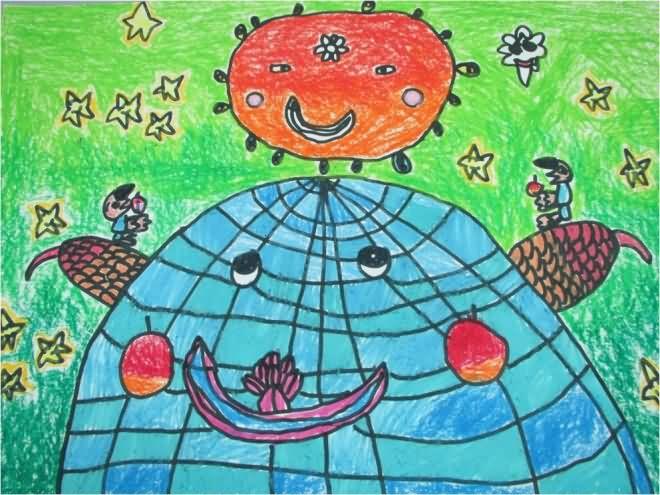 儿童画画 蜡笔画 爱护我们绿色地球儿童画画
