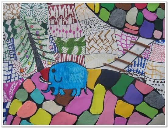 大象鼻子秀简笔画 大象鼻子秀图片欣赏 大象鼻子秀儿童画画作品