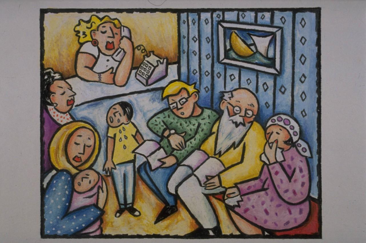 吵闹的一家人简笔画 吵闹的一家人图片欣赏 吵闹的一家人儿童画画作品