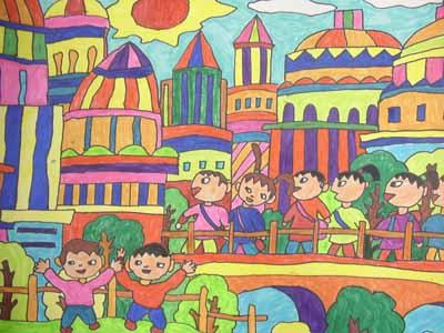 热闹的大街简笔画 热闹的大街图片欣赏 热闹的大街儿童画画作品