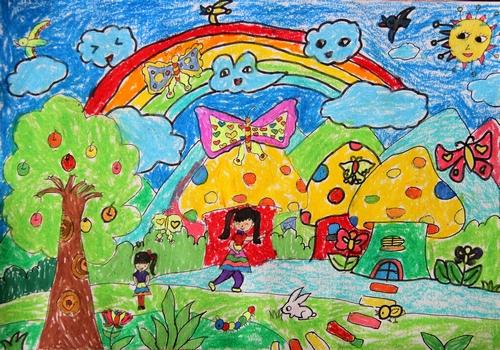 儿童画画 蜡笔画 快乐的童年儿童画画