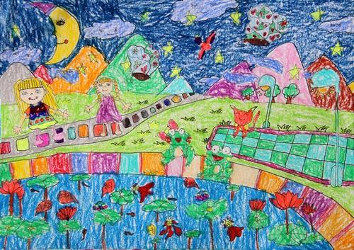 夜晚的荷花池简笔画 夜晚的荷花池图片欣赏 夜晚的荷花池儿童画画作品