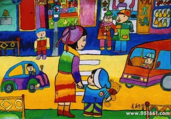 假期和妈妈去逛街简笔画