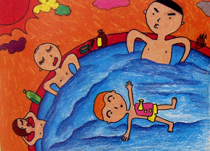 一起来游泳简笔画 一起来游泳图片欣赏 一起来游泳儿童画画作品
