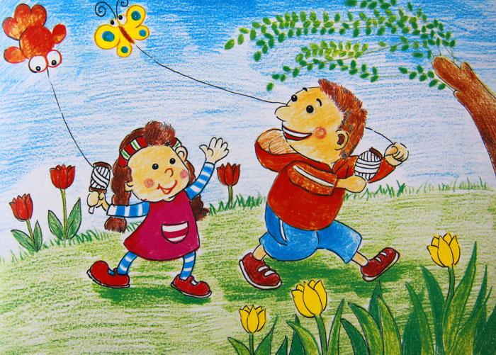 我和妹妹放风筝简笔画