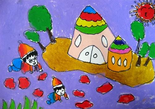 儿童画画 水粉画 我和弟弟玩泥巴儿童画画