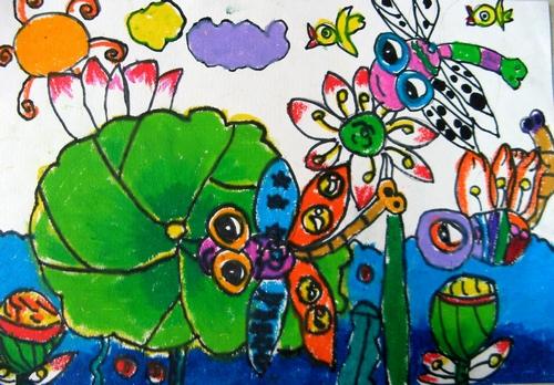 蜻蜓聚会简笔画 蜻蜓聚会图片欣赏 蜻蜓聚会儿童画画作品