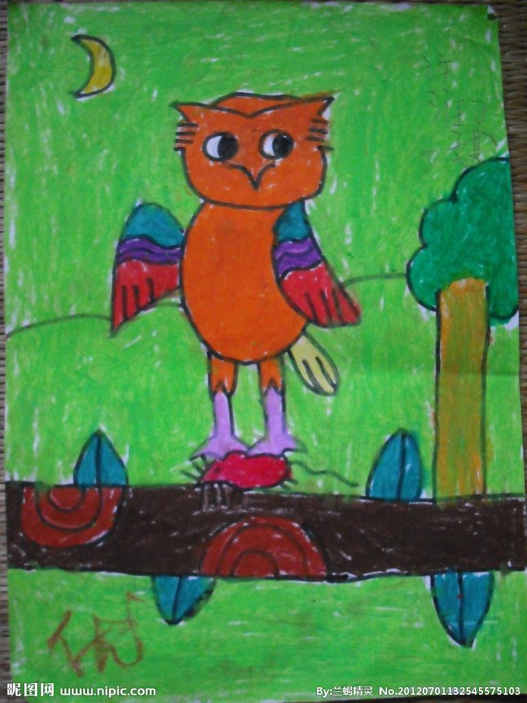 儿童画画 水彩画 可爱的猫头鹰儿童画画