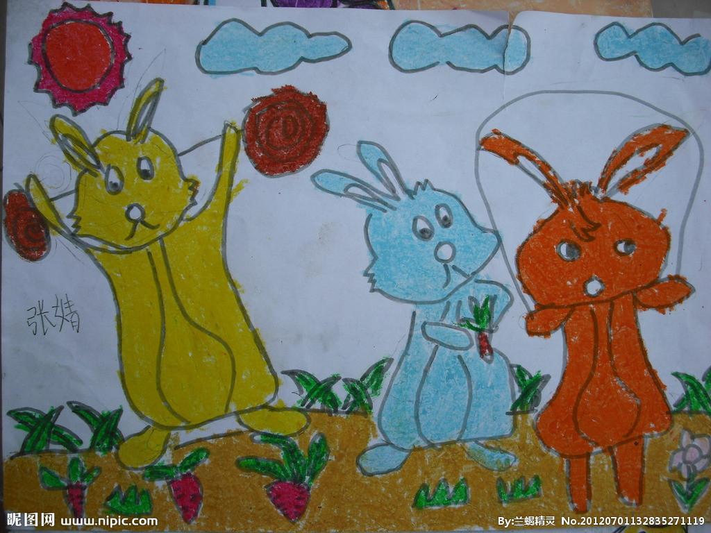 三只小兔子简笔画 三只小兔子图片欣赏 三只小兔子儿童画画作品