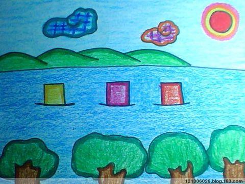 儿童画画 蜡笔画 神秘的大海儿童画画