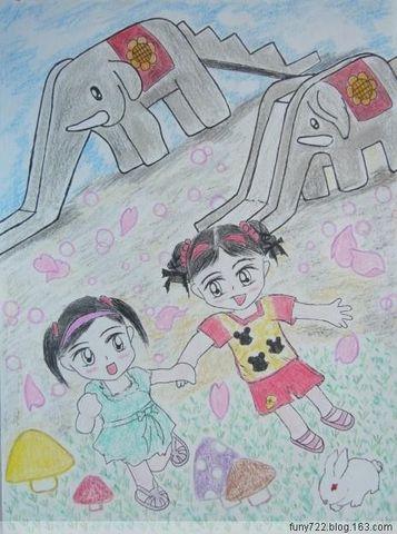 蜡笔画-幼儿园的小朋友