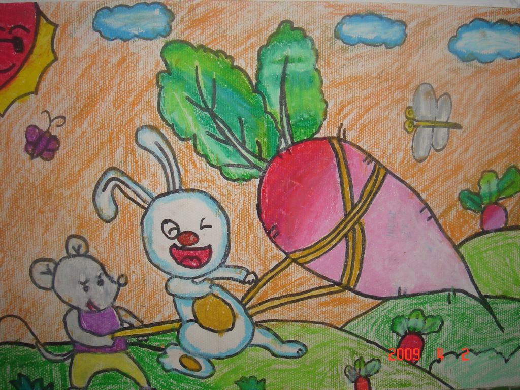 小白兔拔萝卜简笔画 小白兔拔萝卜图片欣赏 小白兔拔萝卜儿童画画作品
