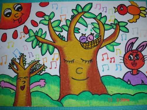 春天的景色儿童蜡笔画