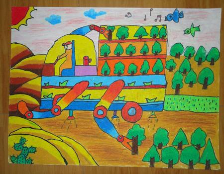 儿童画画 蜡笔画 春天的树木儿童画画