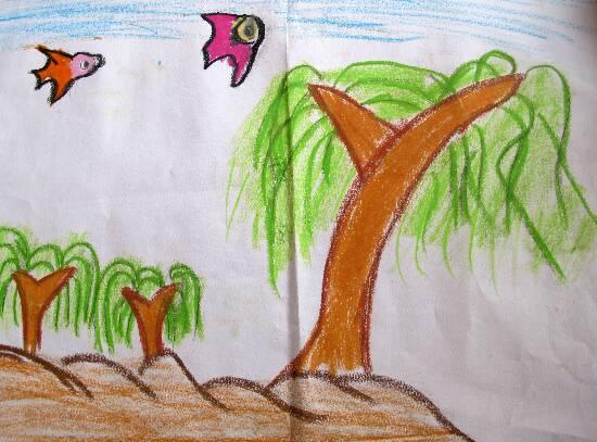 儿童画画 水粉画 春天的柳树儿童画画