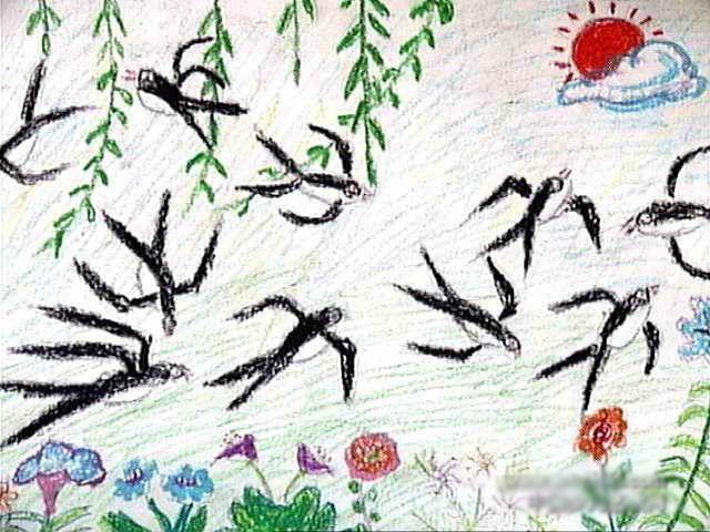 春天里的小燕子简笔画 春天里的小燕子图片欣赏 春天里的小燕子儿童画画作品