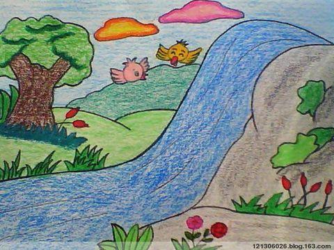 儿童画画 蜡笔画 美丽的春天儿童画画