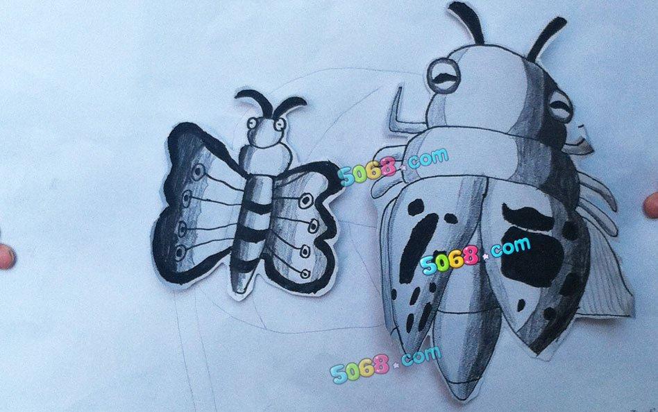 铅笔画-知了和蝴蝶
