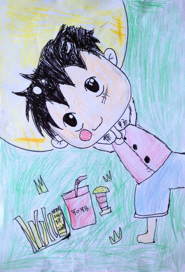 儿童画画 铅笔画 路飞的假期儿童画画