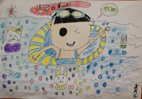 热闹的游泳馆简笔画 热闹的游泳馆图片欣赏 热闹的游泳馆儿童画画作品
